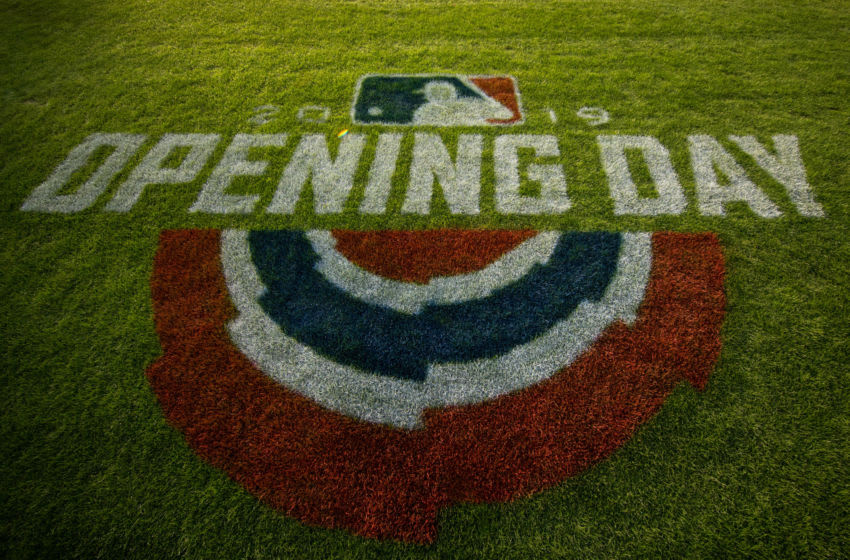 MINNEAPOLIS, MN - MARCH 28: The Opening Day logo painted on the field prior to the game between the Minnesota Twins and Cleveland Indians on March 28, 2019 at the Target Field in Minneapolis, Minnesota. The Twins defeated the Indians 2-0. (Photo by Brace Hemmelgarn/Minnesota Twins/Getty Images) *** Local Caption ***
