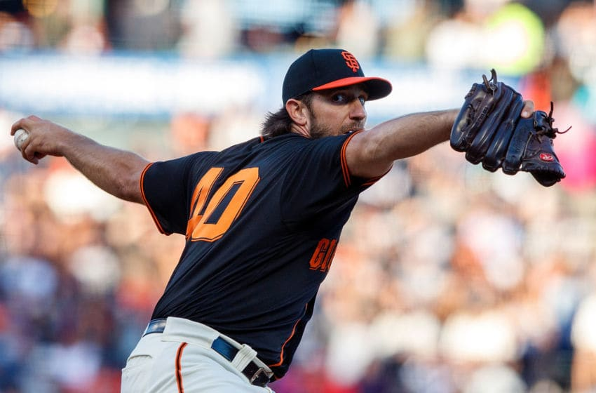 SAN FRANCISCO, CA - SEPTEMBER 14: Madison Bumgarner #40 of the San Francisco Giants pitches against the Miami Marlins during the first inning at Oracle Park on September 14, 2019 in San Francisco, California. (Photo by Jason O. Watson/Getty Images)