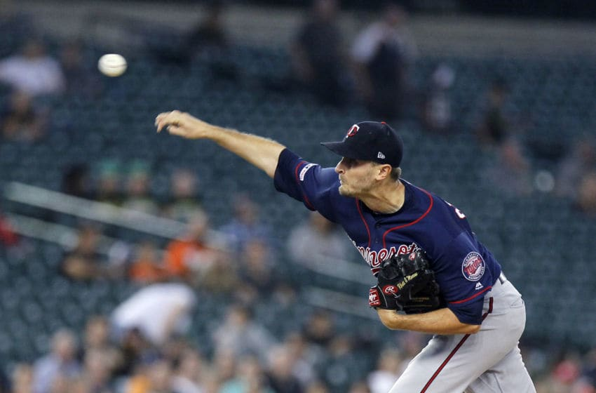 Jake Odorizzi of the Minnesota Twins pitches against the Detroit Tigers during the third inning. (Photo by Duane Burleson/Getty Images)