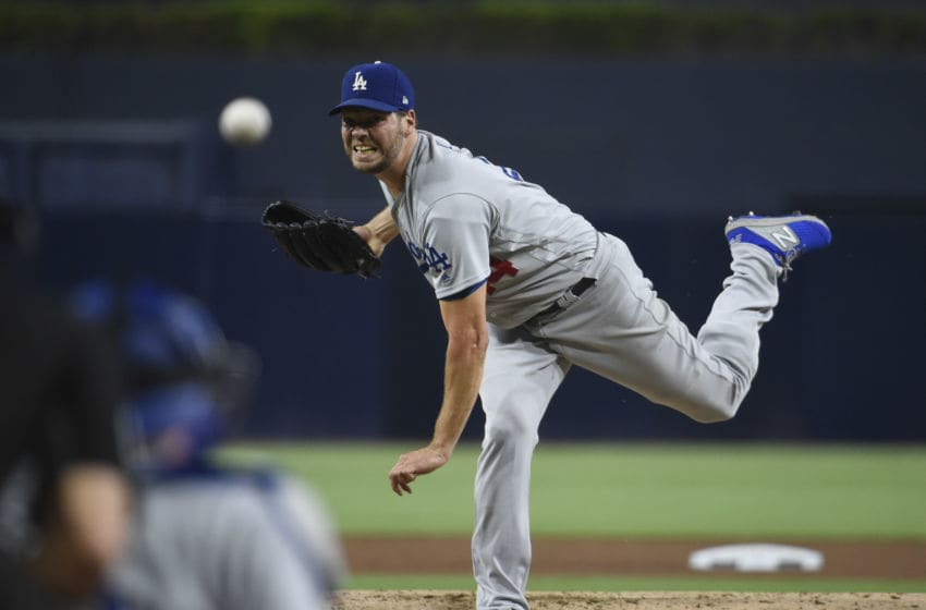 SAN DIEGO, CA - SEPTEMBER 24: Rich Hill #44 of the Los Angeles Dodgers pitches during the the first inning of a baseball game against the San Diego Padres at Petco Park September 24, 2019 in San Diego, California. (Photo by Denis Poroy/Getty Images)