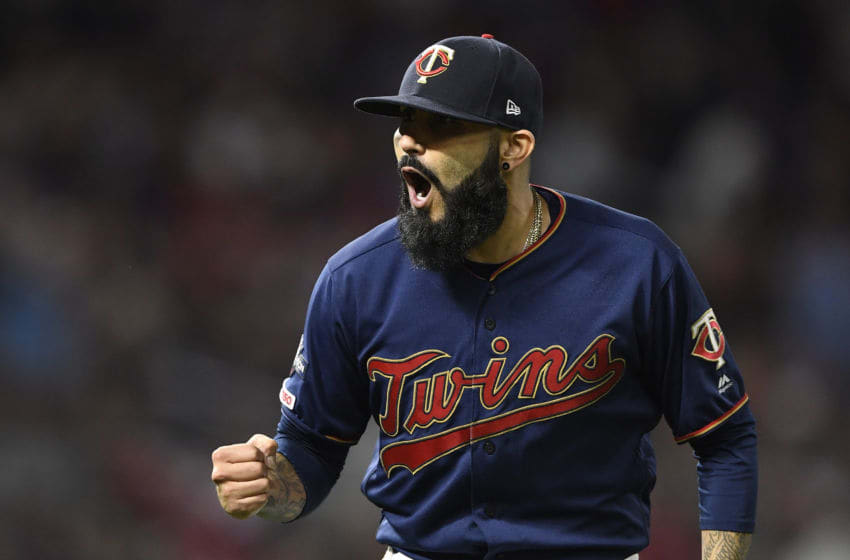 MINNEAPOLIS, MINNESOTA - OCTOBER 07: Sergio Romo #54 of the Minnesota Twins reacts after the final out of the eighth inning in game three of the American League Division Series against the New York Yankees at Target Field on October 07, 2019 in Minneapolis, Minnesota. (Photo by Hannah Foslien/Getty Images)