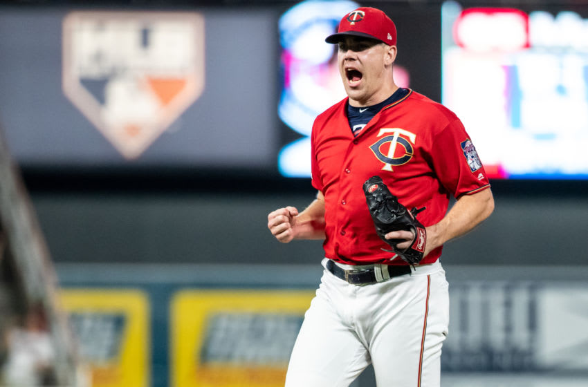 Trevor May of the Minnesota Twins celebrates against the Kansas City Royals on September 20, 2019 at the Target Field in Minneapolis, Minnesota. (Photo by Brace Hemmelgarn/Minnesota Twins/Getty Images)