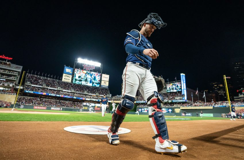 MINNEAPOLIS, MN - OCTOBER 07: Mitch Garver #18 of the Minnesota Twins looks on against the New York Yankees on October 7, 2019 in game three of the American League Division Series at the Target Field in Minneapolis, Minnesota. (Photo by Brace Hemmelgarn/Minnesota Twins/Getty Images)