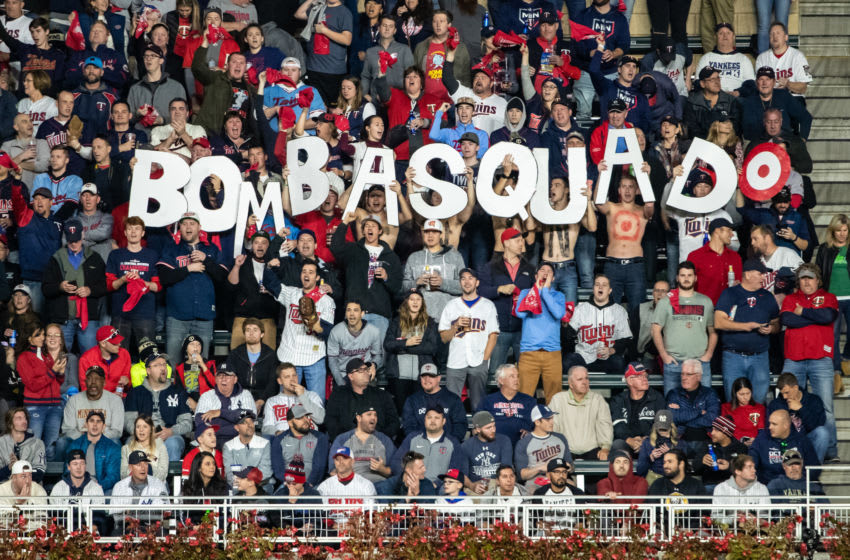 Minnesota Twins fans with a Bomba Squad sign (Photo by Brace Hemmelgarn/Minnesota Twins/Getty Images)