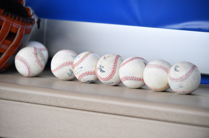 DUNEDIN, FLORIDA - FEBRUARY 27: Rawlings spring training baseballs rest in the dugout of the Minnesota Twins during the spring training game against the Toronto Blue Jays at TD Ballpark on February 27, 2020 in Dunedin, Florida. (Photo by Mark Brown/Getty Images)
