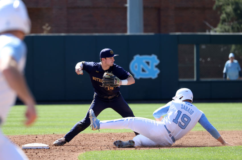Minnesota Twins first round pick Aaron Sabato of the University of North Carolina slides into second (Photo by Andy Mead/ISI Photos/Getty Images)