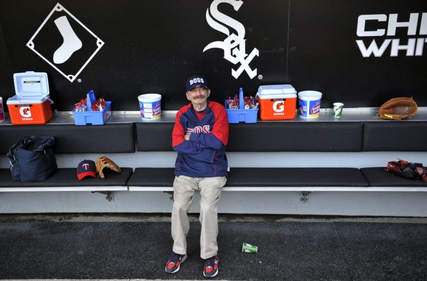 CHICAGO, IL - MAY 23: Minnesota Twins clubhouse manager Wayne Hattaway sits in the Twins dugout before the game against the Chicago White Sox on May 23, 2012 at U.S. Cellular Field in Chicago, Illinois. Hattaway has been with the Twins organization over fifty years. (Photo by David Banks/Getty Images)
