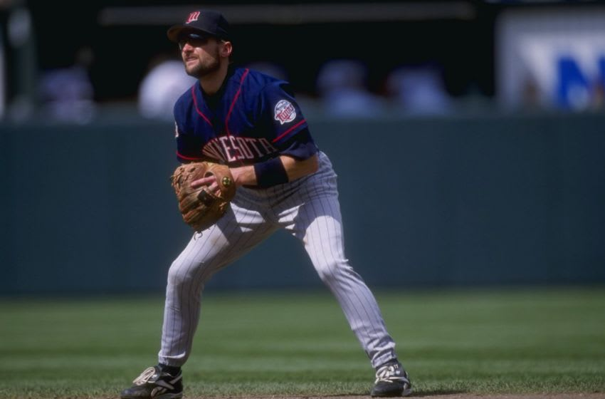 Chuck Knoblauch of the Minnesota Twins in action during a game against the Baltimore Orioles (Mandatory Credit: Doug Pensinger/Allsport)