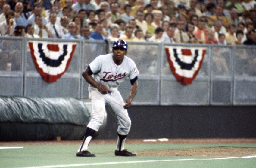 CINCINNATI, OH - JULY 14: Tony Oliva #6 of the Minnesota Twins and the American League AllStars leads off of third base against the National League All Stars during Major League Baseball AllStar game July 14, 1970 at Riverfront Stadium in Cincinnati, Ohio. The National League won the game 5-4. (Photo by Focus on Sport/Getty Images)