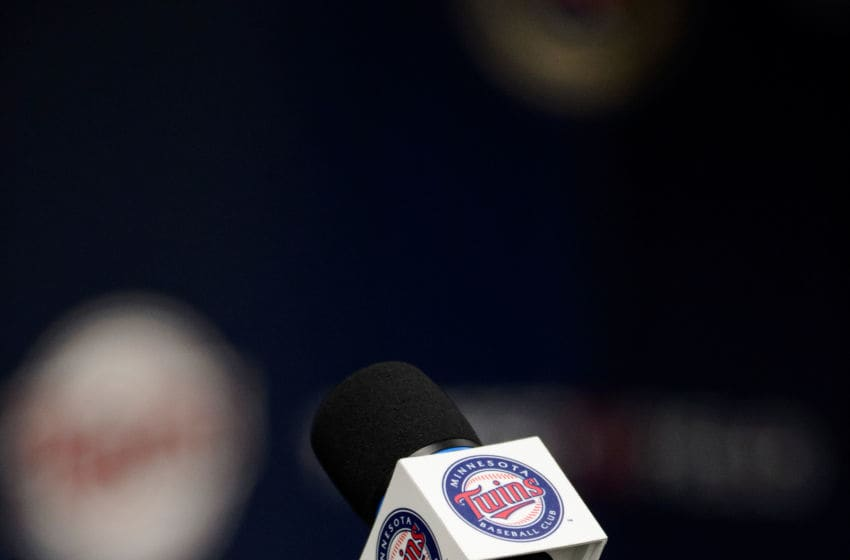 MINNEAPOLIS, MN - JUNE 17: A microphone is seen before the Minnesota Twins introduce Royce Lewis, number one overall draft pick at a press conference on June 17, 2017 at Target Field in Minneapolis, Minnesota. (Photo by Hannah Foslien/Getty Images)