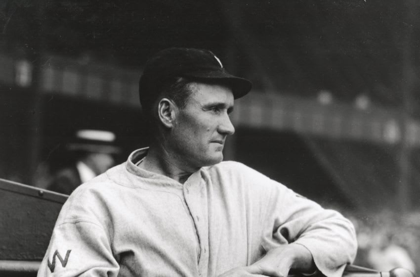 WASHINGTON- 1924. Walter Johnson poses for a photographer in Washington before a game in 1924. (Photo by Mark Rucker/Transcendental Graphics, Getty Images)