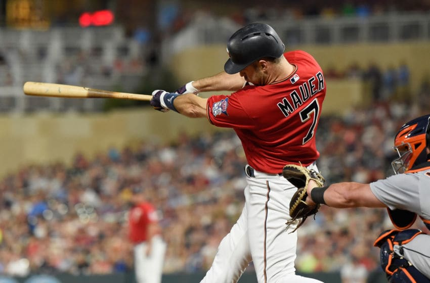 MINNEAPOLIS, MN - AUGUST 17: Joe Mauer #7 of the Minnesota Twins hits a three-run home run against the Detroit Tigers during the seventh inning of the game on August 17, 2018 at Target Field in Minneapolis, Minnesota. (Photo by Hannah Foslien/Getty Images)
