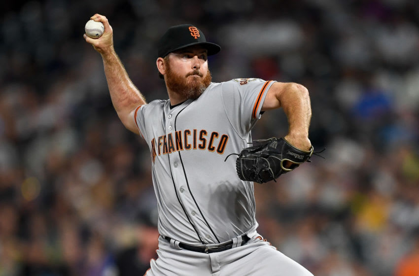 DENVER, CO - JULY 15: Sam Dyson #49 of the San Francisco Giants pitches against the Colorado Rockies during game two of a doubleheader at Coors Field on July 15, 2019 in Denver, Colorado. (Photo by Dustin Bradford/Getty Images)