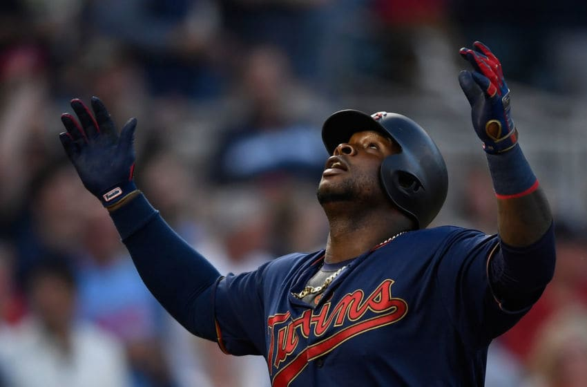 MINNEAPOLIS, MN - JULY 20: Miguel Sano #22 of the Minnesota Twins celebrates hitting a solo home run as he rounds the bases against the Oakland Athletics during the seventh inning of the game on July 20, 2019 at Target Field in Minneapolis, Minnesota. The Athletics defeated the Twins 5-4. (Photo by Hannah Foslien/Getty Images)