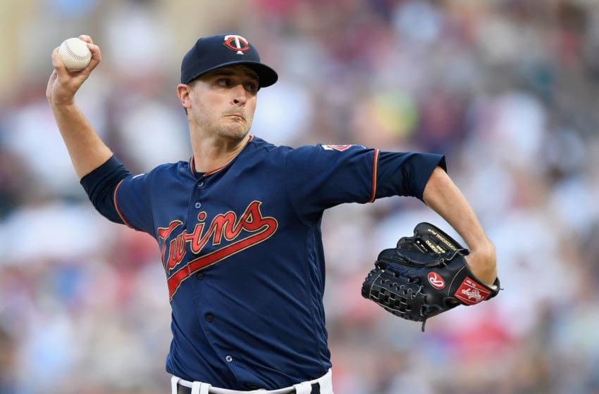 MINNEAPOLIS, MN - JULY 24: Jake Odorizzi #12 of the Minnesota Twins delivers a pitch against the New York Yankees during the first inning of the game on July 24, 2019 at Target Field in Minneapolis, Minnesota. (Photo by Hannah Foslien/Getty Images)
