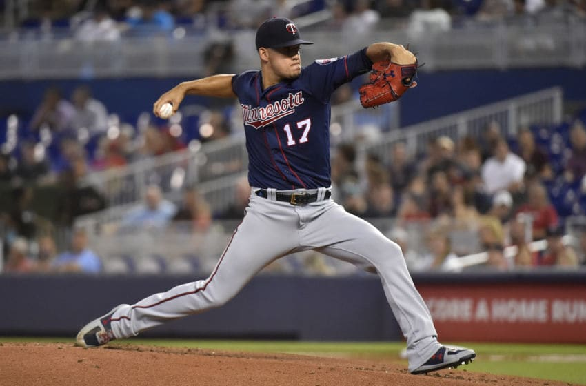 MIAMI, FL - JULY 31: Jose Berrios #17 of the Minnesota Twins throws a pitch during the first inning against the Miami Marlins at Marlins Park on July 31, 2019 in Miami, Florida. (Photo by Eric Espada/Getty Images)