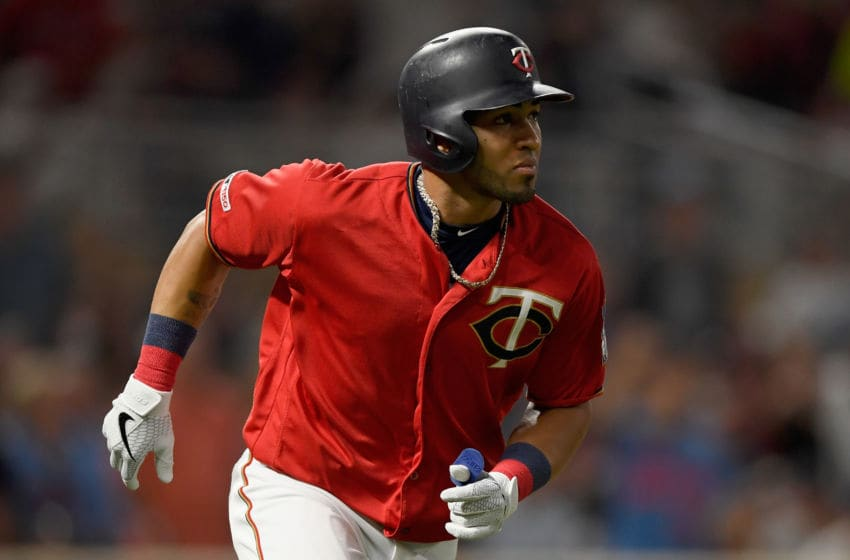 MINNEAPOLIS, MN - AUGUST 09: Eddie Rosario #20 of the Minnesota Twins watches after hitting a solo home run against the Cleveland Indians during the sixth inning of the game on August 9, 2019 at Target Field in Minneapolis, Minnesota. (Photo by Hannah Foslien/Getty Images)