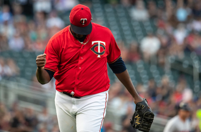 Michael Pineda of the Minnesota Twins celebrates against the Boston Red Sox. (Photo by Brace Hemmelgarn/Minnesota Twins/Getty Images)