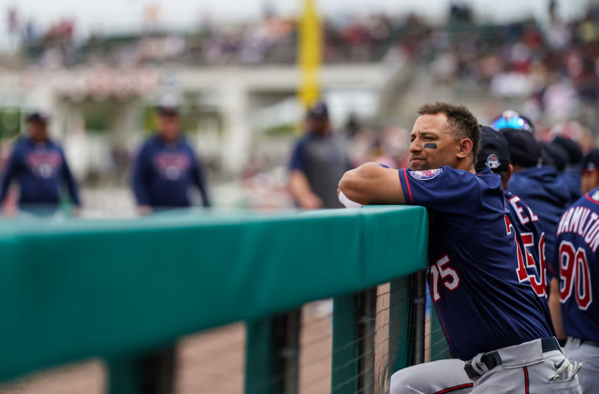 Royce Lewis of the Minnesota Twins looks on during a spring training game between the Minnesota Twins and Boston Red Sox. (Photo by Brace Hemmelgarn/Minnesota Twins/Getty Images)