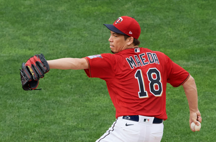 Kenta Maeda of the Minnesota Twins delivers a pitch against the Cleveland Indians. (Photo by Hannah Foslien/Getty Images)