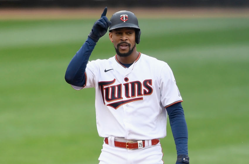 Byron Buxton of the Minnesota Twins celebrates hitting an RBI double against the Kansas City Royals Minnesota. (Photo by Hannah Foslien/Getty Images)
