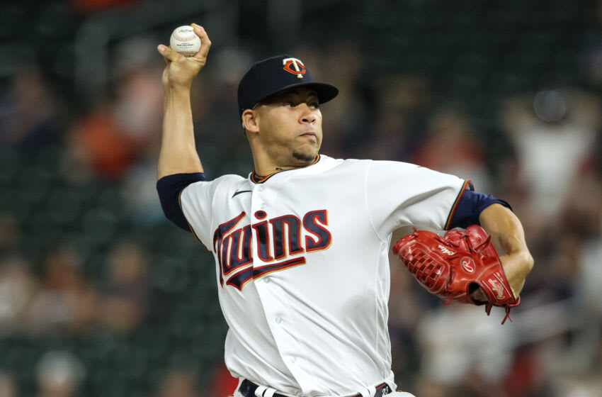 Hansel Robles of the Minnesota Twins delivers a pitch against the Cleveland Indians in the ninth inning of the game at Target Field. (Photo by David Berding/Getty Images)