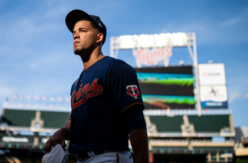 Jose Berrios of the Minnesota Twins looks on prior to the game against the Cleveland Indians. (Photo by Brace Hemmelgarn/Minnesota Twins/Getty Images)