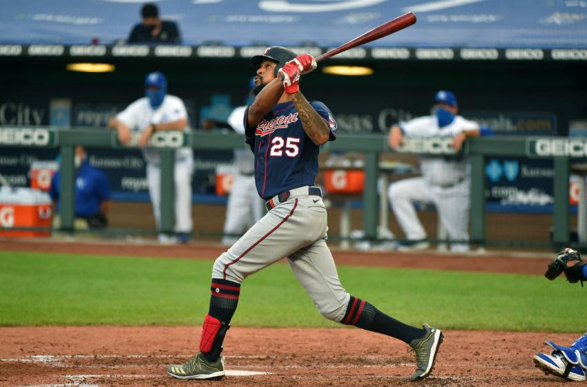 Byron Buxton of the Minnesota Twins hits a three-run home run against the Kansas City Royals. (Photo by Ed Zurga/Getty Images)