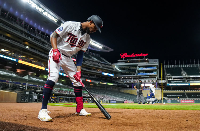 Byron Buxton of the Minnesota Twins looks on against the Milwaukee Brewers. (Photo by Brace Hemmelgarn/Minnesota Twins/Getty Images)