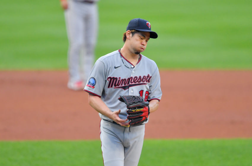 Kenta Maeda of the Minnesota Twins reacts after giving up a solo home run during the first inning. (Photo by Jason Miller/Getty Images)