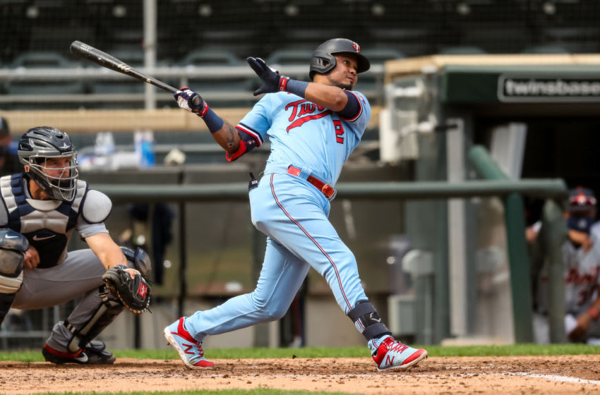 Luis Arraez of the Minnesota Twins bats against the Detroit Tigers. (Photo by Brace Hemmelgarn/Minnesota Twins/Getty Images)