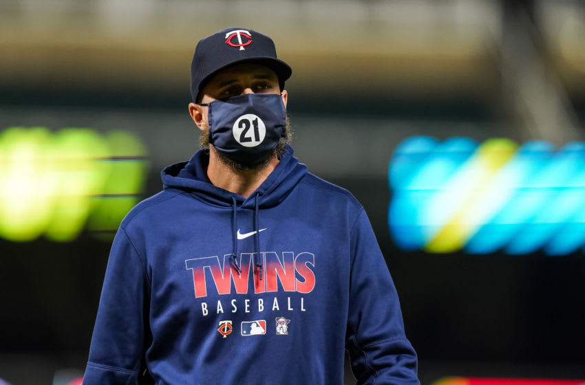 Manager Rocco Baldelli of the Minnesota Twins looks on against Cleveland. (Photo by Brace Hemmelgarn/Minnesota Twins/Getty Images)