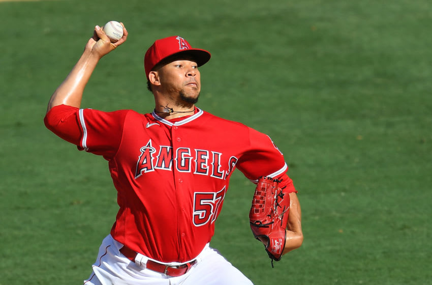 Hansel Robles, formerly of the Los Angeles Angels pitches against the Texas Rangers. (Photo by Jayne Kamin-Oncea/Getty Images)