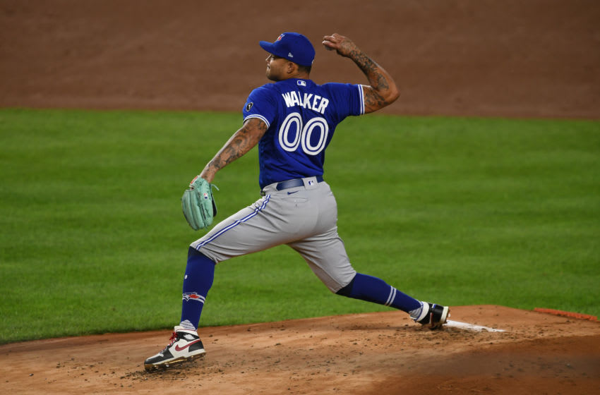 Taijuan Walker of the Toronto Blue Jays pitches during the first inning. (Photo by Sarah Stier/Getty Images)