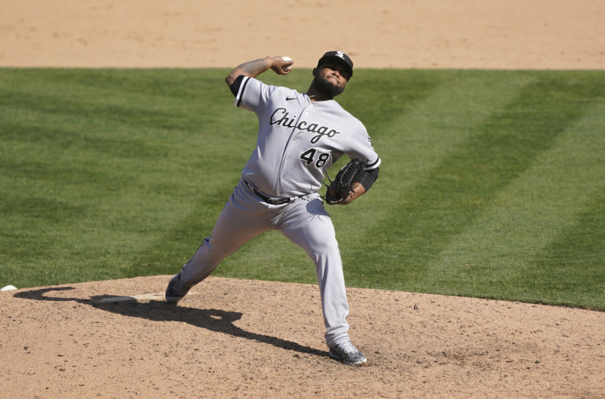 Alex Colome of the Chicago White Sox pitches against the Oakland Athletics. (Photo by Thearon W. Henderson/Getty Images)