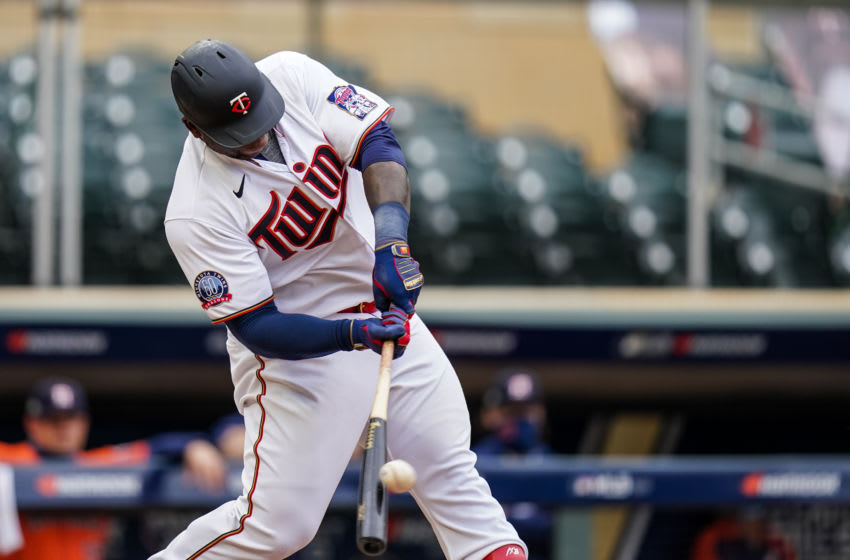 Miguel Sano of the Minnesota Twins bats during Game One of the Wild Card Series. (Photo by Brace Hemmelgarn/Minnesota Twins/Getty Images)