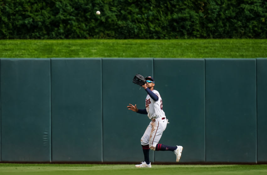 Byron Buxton of the Minnesota Twins fields during game one of the Wild Card Series (Photo by Brace Hemmelgarn/Minnesota Twins/Getty Images)