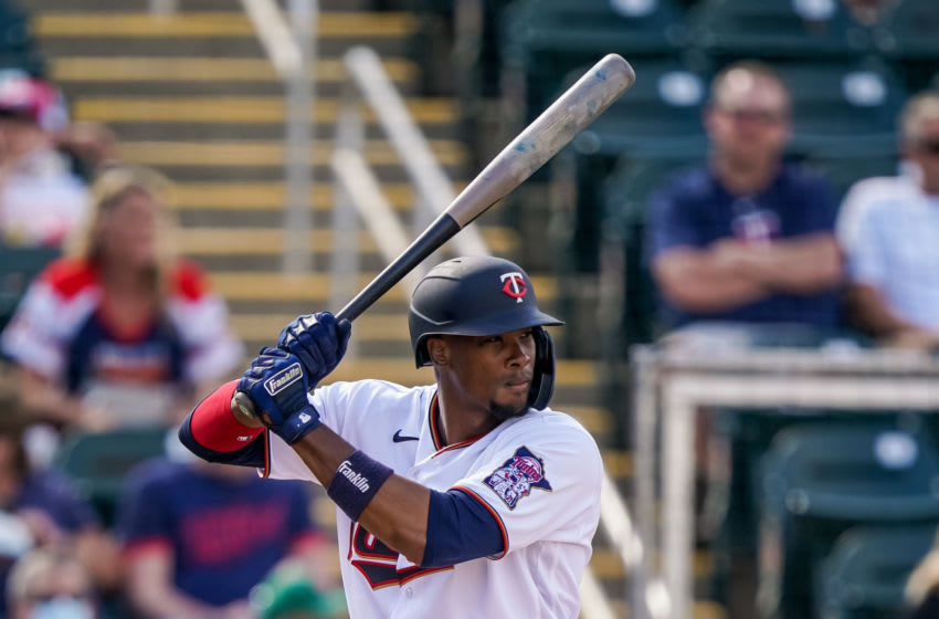 Keon Broxton of the Minnesota Twins bats during a spring training game against the Tampa Bay Rays. (Photo by Brace Hemmelgarn/Minnesota Twins/Getty Images)