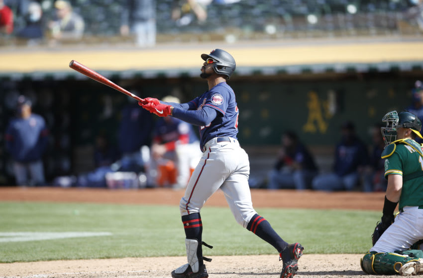 Byron Buxton of the Minnesota Twins hits a home run during the game against Oakland Athletics. (Photo by Michael Zagaris/Oakland Athletics/Getty Images)