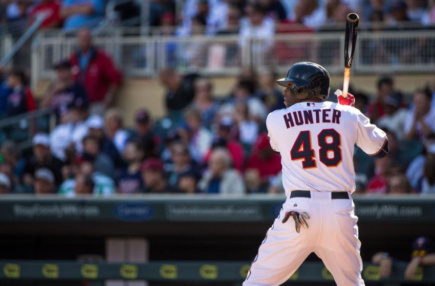 Torii Hunter of the Minnesota Twins bats against the Los Angeles Angels. (Photo by Brace Hemmelgarn/Minnesota Twins/Getty Images)