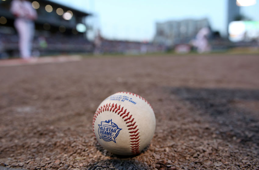 An All Star game logo baseball is photographed during the Sonic Automotive Triple-A Baseball All Star Game. (Photo by Gregg Forwerck/Getty Images)