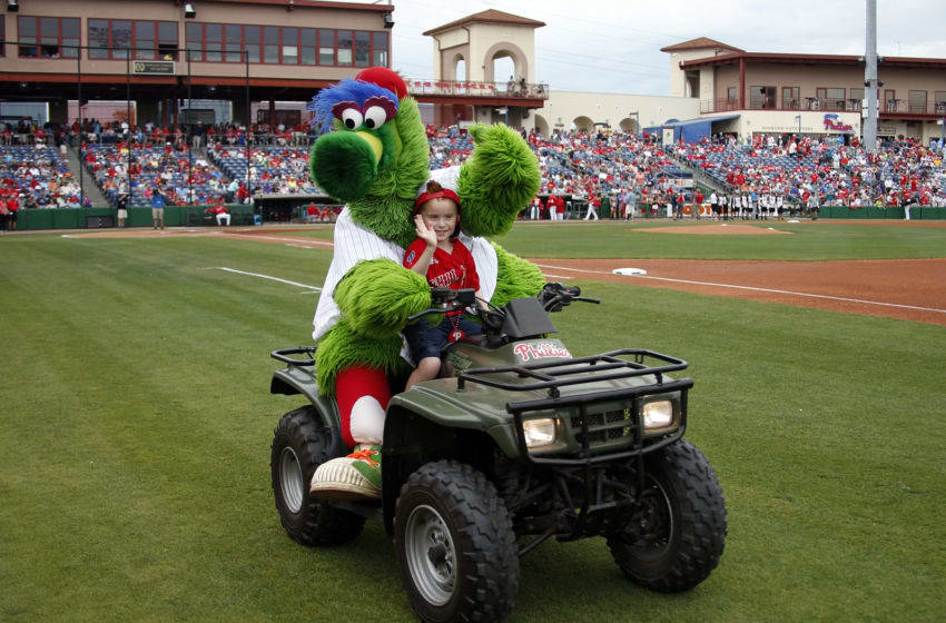 CLEARWATER, FL - MARCH 12: The Phillie Phanatic rides a young fan around on a 4 wheeler before a spring training game between the Philadelphia Phillies and the Boston Red Sox at Spectrum Field on March 12, 2017 in Clearwater, Florida. (Photo by Justin K. Aller/Getty Images)