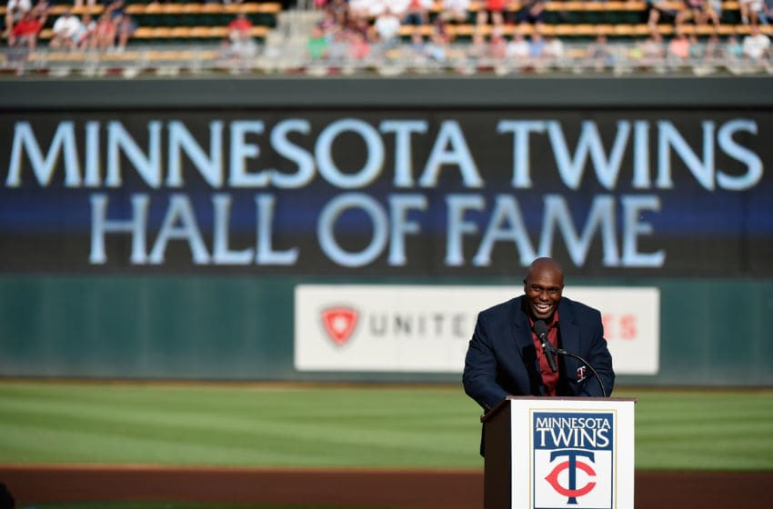 MINNEAPOLIS, MN - JULY 16: Former Minnesota Twins player Torii Hunter speaks as he is inducted into the Minnesota Twins Hall of Fame in a ceremony before the game between the Minnesota Twins and the Cleveland Indians of the game on July 16, 2016 at Target Field in Minneapolis, Minnesota. (Photo by Hannah Foslien/Getty Images)