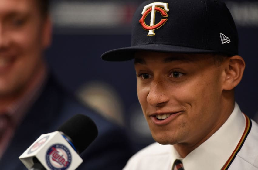 MINNEAPOLIS, MN - JUNE 17: Number one overall draft pick Royce Lewis speaks at a press conference on June 17, 2017 at Target Field in Minneapolis, Minnesota. (Photo by Hannah Foslien/Getty Images)