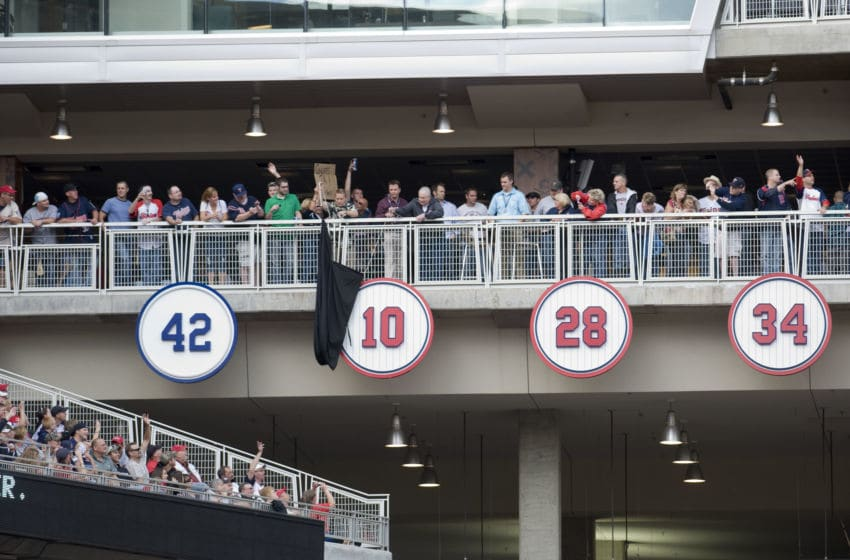 MINNEAPOLIS, MN - SEPTEMBER 8: The number 10 of former manager Tom Kelly of the Minnesota Twins is unveiled among the other retired numbers before a game at Target Field against the Cleveland Indians on September 8, 2012 in Minneapolis, Minnesota. (Photo by Marilyn Indahl/Getty Images)