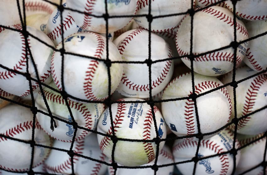 HOUSTON, TX - JUNE 25: Baseballs are seen in a basket on the field prior to the game between the Yankees and Astros at Minute Maid Park on June 25, 2015 in Houston, Texas. (Photo by Scott Halleran/Getty Images)