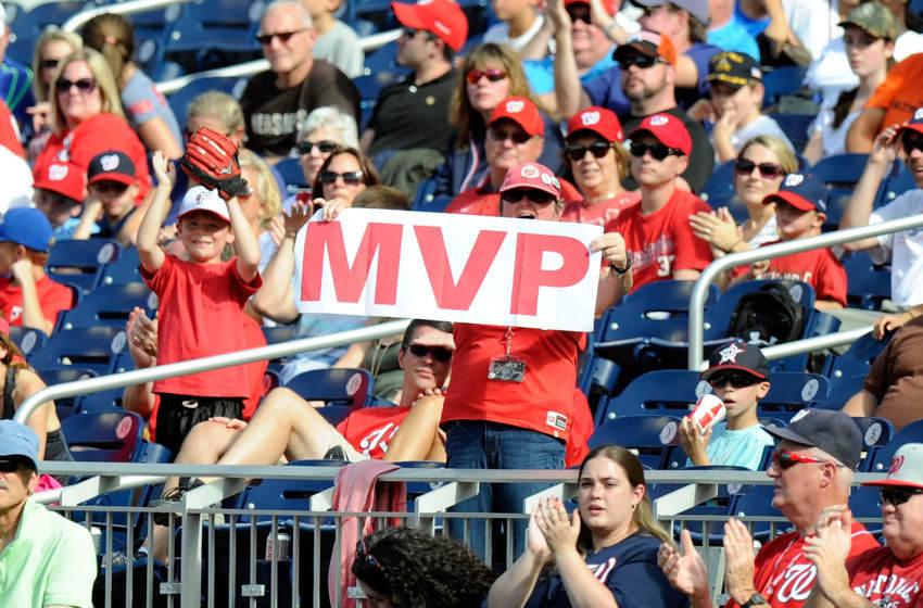 WASHINGTON, DC - SEPTEMBER 20: A fan holds up a MVP sign for Bryce Harper