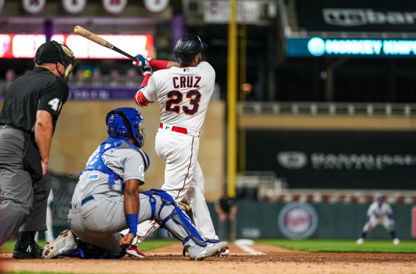 Nelson Cruz of the Minnesota Twins bats and hits a home run. (Photo by Brace Hemmelgarn/Minnesota Twins/Getty Images)