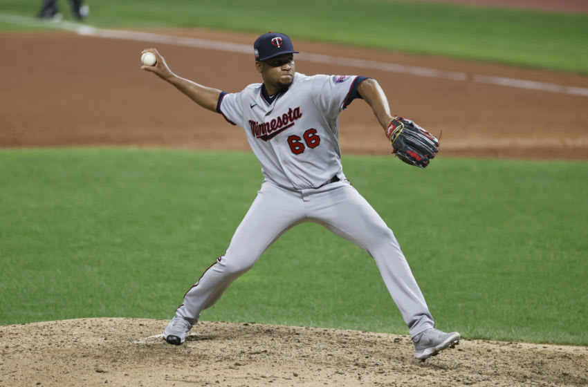 CLEVELAND, OH - AUGUST 25: Jorge Alcala #66 of the Minnesota Twins pitches against the Cleveland Indians during the sixth inning at Progressive Field on August 25, 2020 in Cleveland, Ohio. (Photo by Ron Schwane/Getty Images)