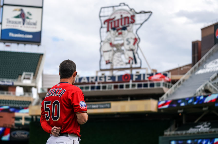 Brent Rooker of the Minnesota Twins looks on prior to game one of a doubleheader in his major league debut. (Photo by Brace Hemmelgarn/Minnesota Twins/Getty Images)